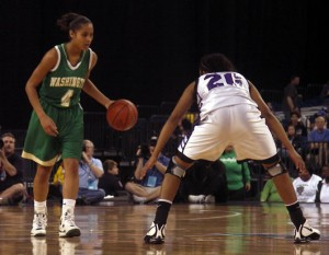 Skylar Diggins and Alex Bentley duke it out at the 2009 IHSAA 4A State Finals.
